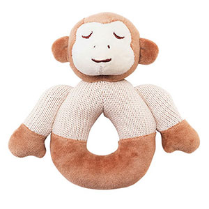 Organic Cotton Monkey Knitted Teether Rattle by My Natural